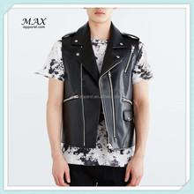 Custom Design Wholesale High Quanlity Classic Bikers Style Men Black Biker Leather Vest