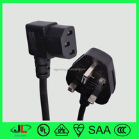 UK approval 3 pin flat non-rewireable power lead plug with 3-Prong Trapezoid female connector