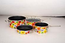 2015 Simple Cooking Enamel Non-stick Carbon Steel 7Pc Cookware Set