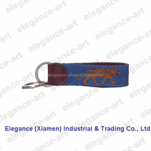 The Genuine Cowhide Leather in Needlepoint Bule Lions Key Fobs