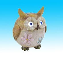 Resin solar light owl garden accent with solar powered light