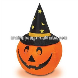 NB-HW2011 Ningbang lcustomized giant inflatable halloween lighting pumpkin with hat for decorations