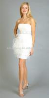 HT891Elegant white feather short dress evening dress