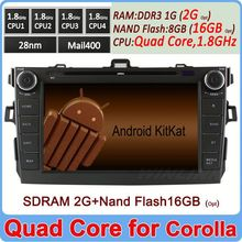 2G DDR3 16GB Flash Quad Core Android 4.4 android dvd for toyota corolla 2006 2007-2011 Support OBD TPMS 3G