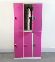 Unique design and best selling KD structure 6 door used metal lockers sale for school,fieness center,bath center/pink metal lock