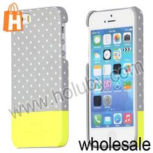Double Color Polka Dots Protective Back Cover Organic Glass Hard Case for iPhone5S 5