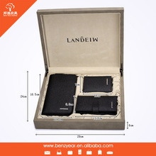 100% Genuine Leather Wallet Trifold Card Holder Short Credit Card Box 3 Pcs Wallet Gift Set