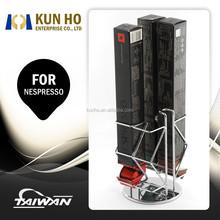 For Nespresso 4 Boxes Rotating Coffee Pod Storage Holder Metal Capsule Organizer