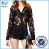 Yihao Latest Fashion OEM Ladies Blouse Plus Size Black Blace Sexy women Blouse