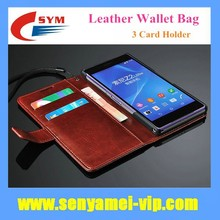 For Sony Z2 Case Leather Wallet Stand Flip Mobile Phone Bag 3 Card Holder