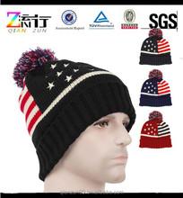 NEW Mens MuKa Winter Sports Pom-Pom Beanie American Flag Stars And Stripes