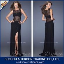Contracted Floor Length Jewel Side Slit Net Evening Prom Dress