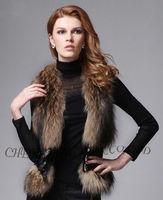 CX-G-B-138 Genuine Sheepskin Leather Waistcoat& Raccoon Fur Vest