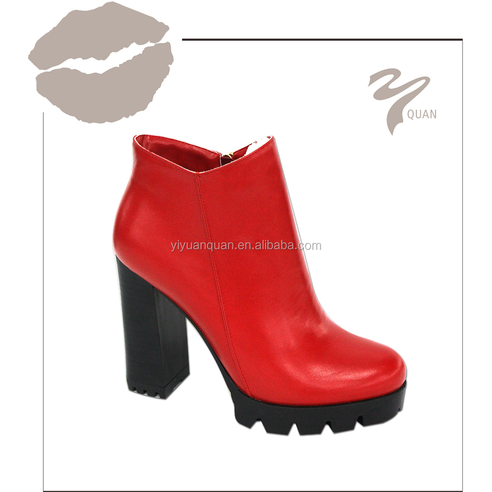 2016 new model red chunky ankle boots buy red chunky for New model boot