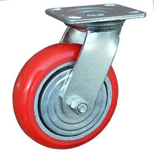 "5"" European type red wheel elastic flat free wheel,hospital bed wheel caster"