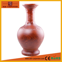 Modern Style handmade natural Rosewood hand carved Wood Vase wholesale art and craft supplies