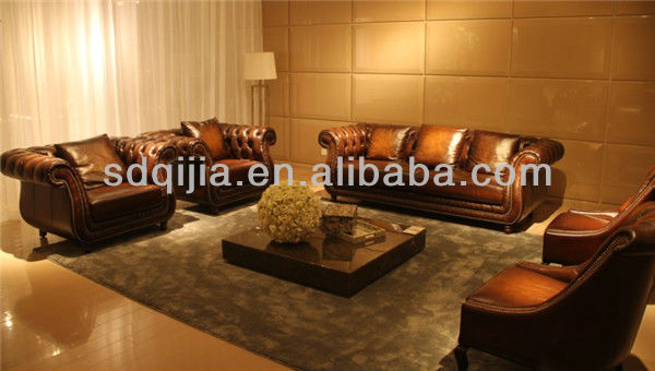 American Style Living Room Furniture Classic Luxury Chesterfield Brown Leather Sofa Sets