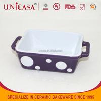Purple Hand Painted baking pan, Ceramic bakeware with handles