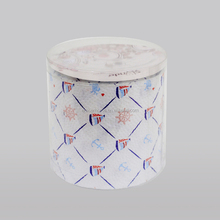 Printed toilet tissue in roll with Ocean memory design