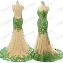 New Listing Green Sequin Appliqued Mermaid Sleeveless Sheer Back Tulle Long Formal Evening Dresses 2016
