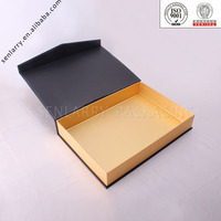 Hinged lid cardboard black box with matte lamination made in China