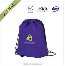 cheap ployester fabric drawstring backpack bag with custom logo