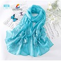 Lingshang flor de la alta calidad patrón de la bufanda del otoño y el invierno de seda bordado mantón de la bufanda
