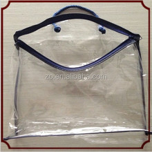 Good Quality Vinyl PVC zipper blanket packaging bag with blue rope handle