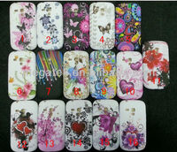 Cell phone case Waterprint flora tpu case for samsung galaxy s3 mini i8190,for samsung galaxy s3 mini case flower