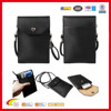 2015 Newest Leather neck wallet for iphone 6 plus ,PU Leather shoulder case for mobile .neck wallet for credit cards & passport
