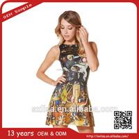 2015 Big Brand Design Women Sundress Hot Printing Lady Mini Dress