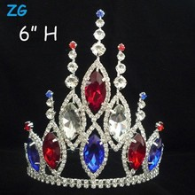 Gorgeous red crystal bridal crown, india wedding tiaras, beauty pageant crown with blue crystal