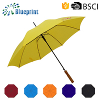 UV Sun Protection Yellow Auto Wooden Handle Straight Umbrella