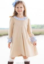 wholesale khaki school girl dress baby corduroy dress children corduroy dress