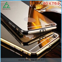 Plum Buckle Aluminum Bumper Case For iPhone 6, For iPhone 6 Mirror Back Cover Hybrid Case