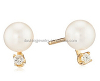 Akoya Cultured AA-Quality Pearl-and-Diamond Earrings with 14k Gold Posts akoya pearl earrings
