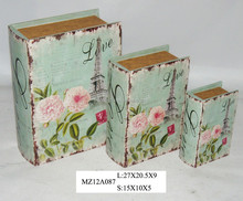 Elegant rose pink flowers on blue style upright wooden book box