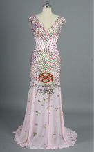 HMY-E001 Real Images Suzhou Factory Pink Chiffon Cap Sleeve V-neck Luxurious Beaded Evening Dresses