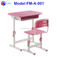 FM-A-001 Student desk and chair with adjustable legs for kids