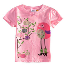 ( K4020 ) 2-6y Children clothes nova brand summer girls tshirts printed bird wholesale