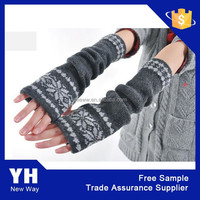 2015 Dark Gray Cotton Knitted Women Winter Long Fingerless Gloves for Cheap Sale