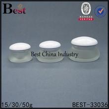 15/30/50g mushroom shape glass jar with white cap, high quality, raisonnable price