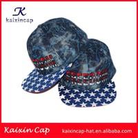 custom made 6 panel flat brim denim snapback cap with printing star