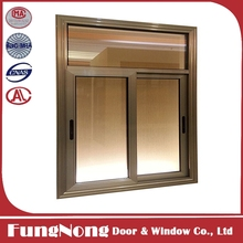 Aluminium Brown Color Side Sliding Window With Frosted Glass