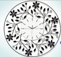 Flower crystal metal wall digital clock