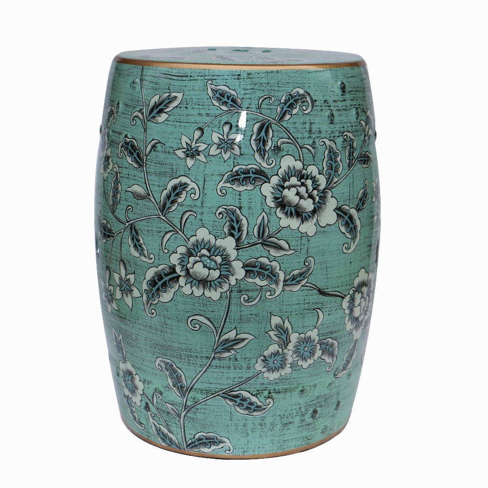 2014 Indoor furniture chinese ceramic garden stools H18inches with flower and bird design