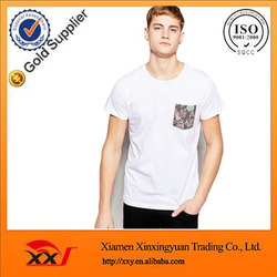 2016 short sleeve man shirt white cotton t shirtswith floral printing pocket egyptian cotton shirt fabric