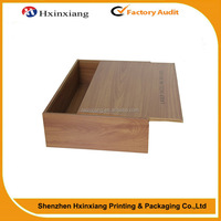 Factory supplier rectangle wooden packaging box with sliding lid
