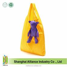 Yellow Color Polyester Nylon Reusable Cheap Foldable Bear Shopping Bag