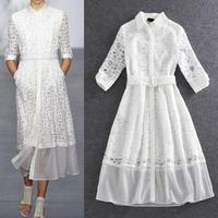 New Designer Dress Early Spring 2016 Women Turn-down Collar Organza Silk Embroidery Sashes White Black Elegant Dress OL Office